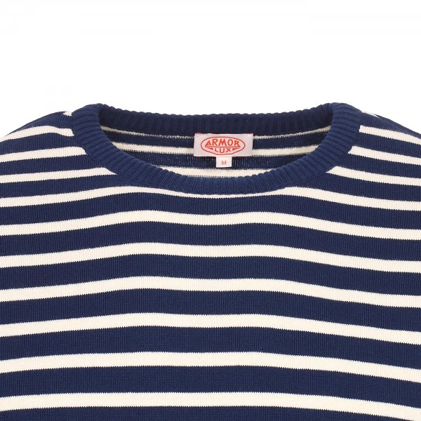 Pull col rond Armor Lux Boxy Marin Héritage à rayures bleu marine et blanches
