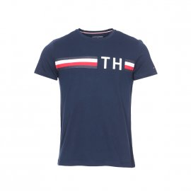 Tee-shirt col rond Tommy Hilfiger Striped Logo Graphic en coton bleu marine