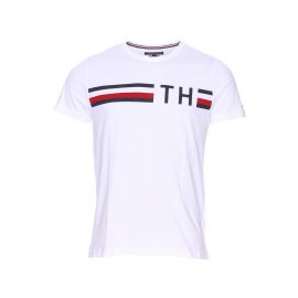Tee-shirt col rond Tommy Hilfiger Striped Logo Graphic en coton blanc
