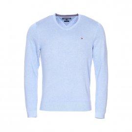 Pull col V Tommy Hilfiger en coton et soie bleu clair chiné