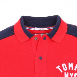 Polo Tommy Jeans Essential Badge en coton rouge floqué en blanc