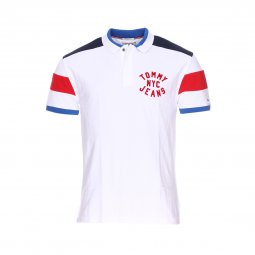 Polo Tommy Jeans Essential Badge en coton blanc floqué en rouge