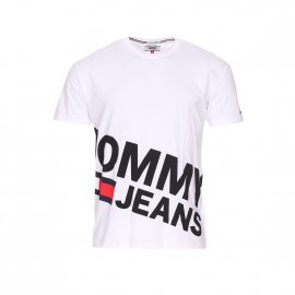 Tee-shirt col rond Tommy Jeans Essentiel Magnified Logo en coton blanc