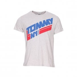 Tee-shirt col rond Tommy Jeans Retro Block gris chiné