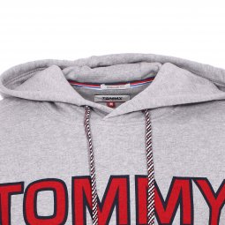 Sweat à capuche Tommy Jeans Essential Graphic en coton gris chiné floqué