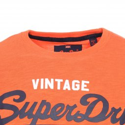 Tee-shirt col rond Superdry Premium Goods en coton flammé orange floqué