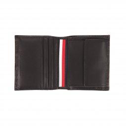 Portefeuille européen Tommy Hilfiger Eton à 3 volets en cuir lisse noir estampillé à l'avant nXLV5u