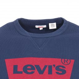 Sweat rond Levi's Graphic Crew Fleece Dress Blues en coton mélangé bleu marine floqué en rouge