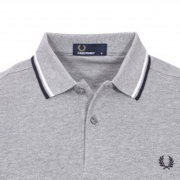 Polo Fred Perry Twin Tipped en piqué de coton gris chiné