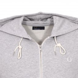 Sweat zippé à capuche Fred Perry Loopback en coton gris chiné