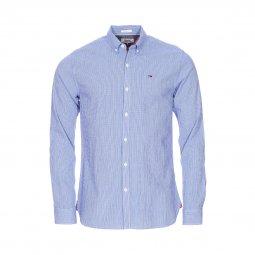 Chemise cintrée Tommy Jeans Essential Seersucker en coton stretch à  carreaux vichy bleus et blancs, ...