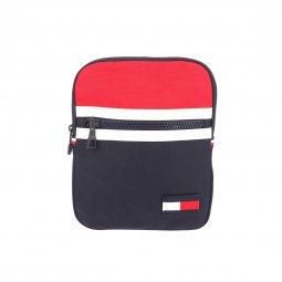 Grande sacoche plate Tommy Hilfiger Crossover Corporate bleu marine, rouge et blanche