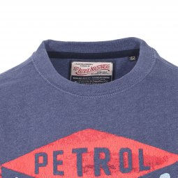 Sweat col rond Petrol industries Junior en coton mélangé bleu indigo floqué en orange et vert
