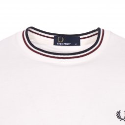 Tee-shirt col rond Fred Perry Twin Tipped en coton blanc
