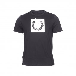 Tee-shirt col rond Fred Perry Printed Laurel Wreath en coton noir