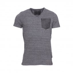 Tee-shirt col V Chasin' Today Plus en coton mélangé gris anthracite chiné