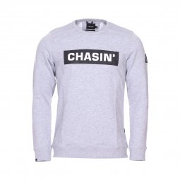 Sweat col rond Chasin' Low Box en coton mélangé gris chiné