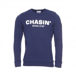 Sweat col rond Chasin' Low en coton bleu marine
