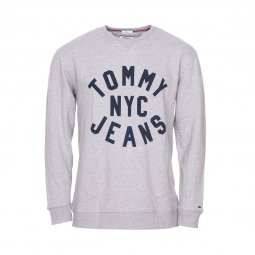 Sweat col rond Tommy Jeans Essential Graphic en coton gris chiné