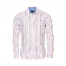 3200244d8a4 Chemise droite Napapijri Gardez Stripe en coton blanc à rayures  multicolores ...