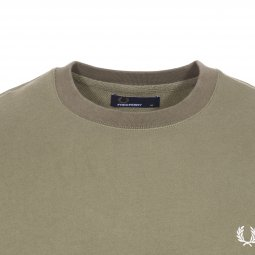 Sweat col rond Fred Perry en coton vert olive