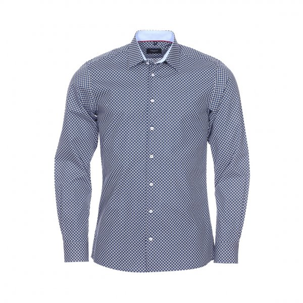 chemise jean chatel london en coton blanc motifs bleu marine et bleu roi rue des hommes. Black Bedroom Furniture Sets. Home Design Ideas