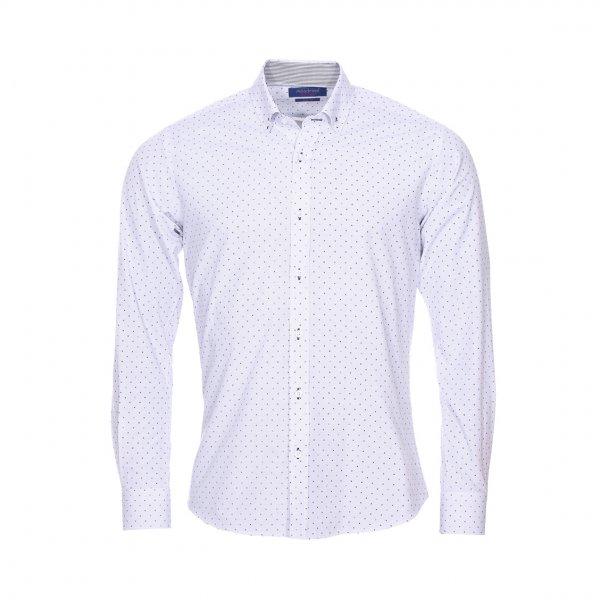 chemise cintr e m adrine en coton blanc motifs bleu roi gris et noirs rue des hommes. Black Bedroom Furniture Sets. Home Design Ideas