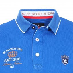 Polo Aristow Six Drop en piqué de coton stretch bleu roi