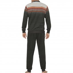 Pyjama long Hajo Climat forme jogging en éponge : sweat col V gris anthracite à rayures grises, rouges et orange et pantalon gris anthracite