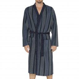 da4c0e23f3ca3 Peignoir col kimono Hajo en éponge bleu marine à rayures vertes, bleu  indigo et blanches ...