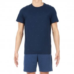 Pyjama court HOM Triangle en coton : tee-shirt col rond bleu marine à triangles bleu denim et short bleu denim