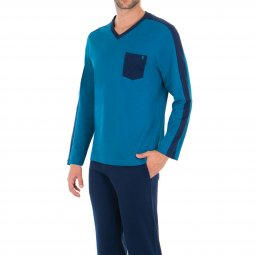 9e5d7fc3ac36 Pyjama long Eminence Fast en interlock de coton   tee-shirt manches longues  col V