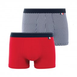 Lot de 2 boxers Eminence Made In France en jersey de coton stretch rouge et blanc à coqs bleu marine