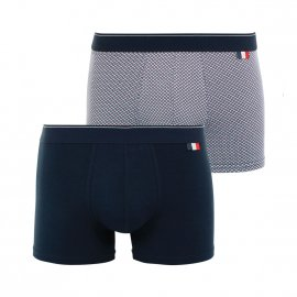 Lot de 2 boxers Eminence Made In France en jersey de coton stretch bleu marine et à motifs
