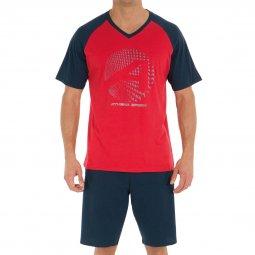 3375c2a3601b Pyjama court Athena en jersey de coton   tee-shirt col V rouge et bleu