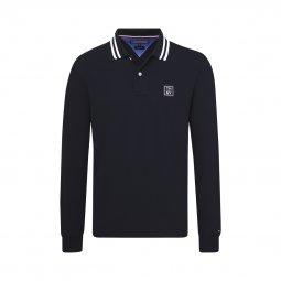 7b4c70d678ed Polo manches longues Tommy Hilfiger Badge en piqué de coton bleu marine ...