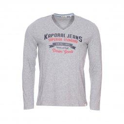 Tee-shirt col V manches longues Kaporal Farto en coton mélangé gris chiné  floqué ... df7142f79854