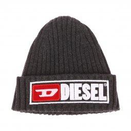 294019d3162a Bonnet à revers Diesel K-Coder-B en laine mélangée gris anthracite chiné  côtelé