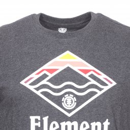 Tee-shirt col rond Element Layer en coton gris anthracite chiné floqué