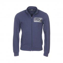 Sweat zippé EA7 en coton bleu marine floqué en noir et argenté sur l avant  ... 5d3c0bd31d9