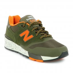 Baskets New Balance 597 kaki à détails orange