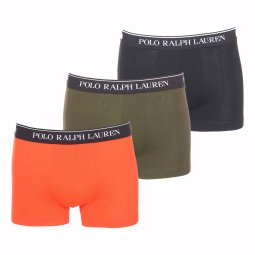 Lot de 3 boxers Polo Ralph Lauren en coton stretch noir, vert kaki et orange électrique