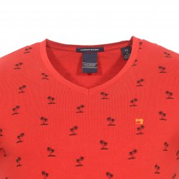 Tee-shirt  col V Scotch & Soda Classic en coton stretch rouge à motifs Palmiers