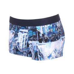 Boxer Hom Madison en coton stretch bleu à imprimé New-York