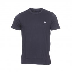 Tee-shirt col rond Fred Perry Ringer en coton stretch bleu marine