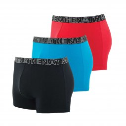 Lot de 3 boxers Athena Eco Pack en coton stretch noir, bleu et rouge