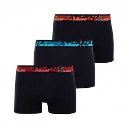 Lot de 3 boxers Athena Pulse en coton stretch noir à ceinture rouge, bleue et orange