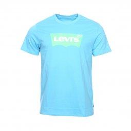 0dcb2476d7012 Tee-shirt manches courtes Levi's Housemark graphic en coton bleu azur floqué  vert fluo ...