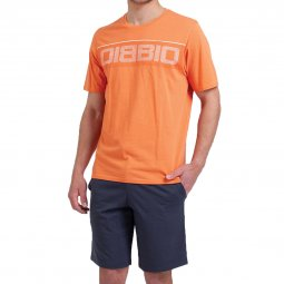 Pyjama court Athena en coton biologique : tee-shirt col rond orange et short gris anthracite