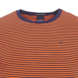 Tee-shirt col rond Scotch and Soda en coton stretch orange à rayures bleu marine